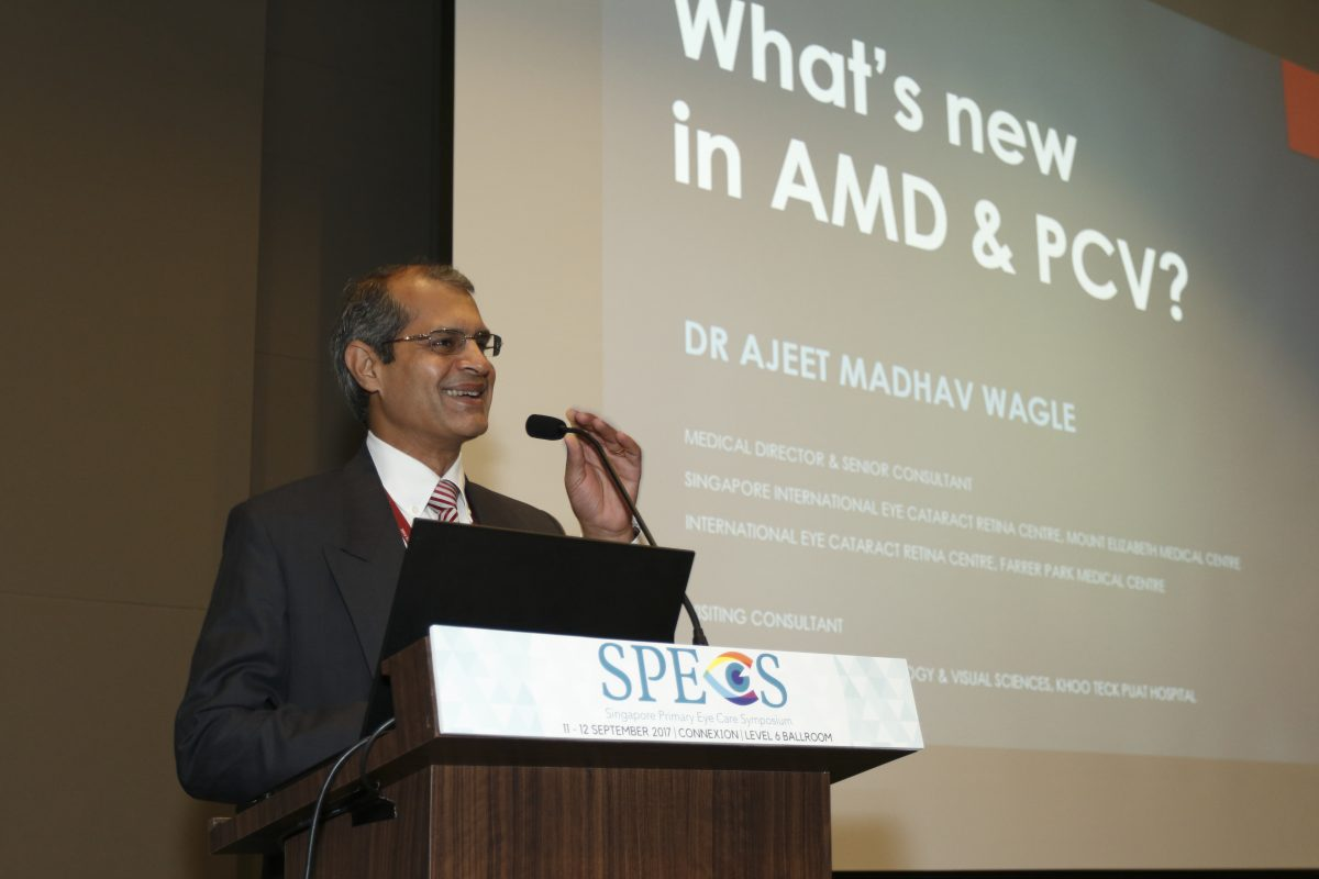 Dr Ajeet Madhav Wagle, Medical Director and Senior Consultant Ophthalmologist at International Eye Cataract Retina Centre, giving his lecture at the inaugural Singapore Primary Eye Care Symposium on 11-12 September 2017.