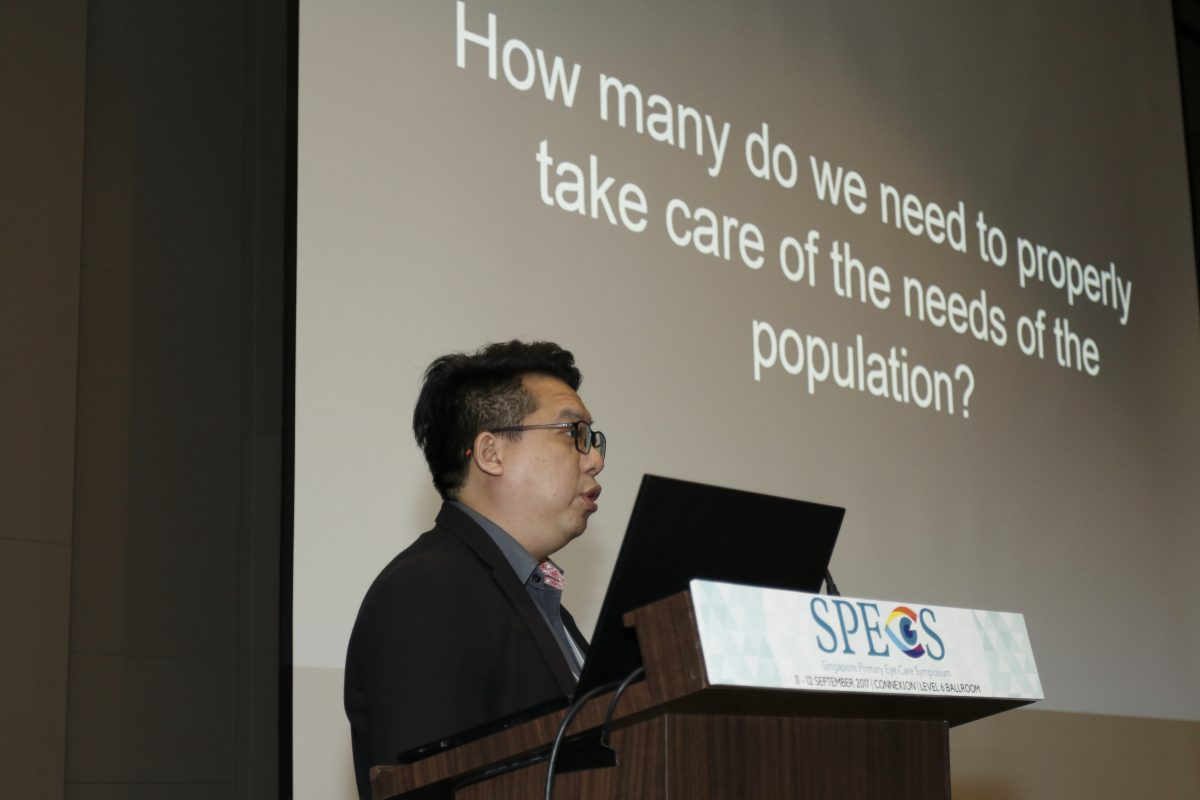 Mr Mickael Ng, Optometrist and Founder of Vision Care Professionals Singapore, delivering his talk at the inaugural Singapore Primary Eye Care Symposium (SPECS) on 11-12 September 2017.