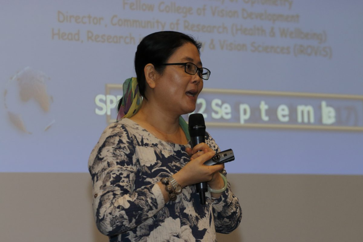 Professor Chen Ai Hong giving her lecture on 'Vision Screening Programme for Children: Worldwide Practice Pattern and 'Jom Check Mata Satu Malaysia' (JCM1M) Sharing' at the inaugural Singapore Primary Eye Care Symposium 2017 on 11-12 September 2017 at One Farrer Hotel & Spa.