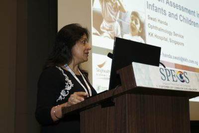 Dr Swati Handa, Staff Physician at KK Women's and Children's Hospital, giving her lecture on 'Vision Assessment in Infants and Children' at Singapore Primary Eye Care Symposium (SPECS) 2017 on 11-12 September 2017 at One Farrer Hotel & Spa.