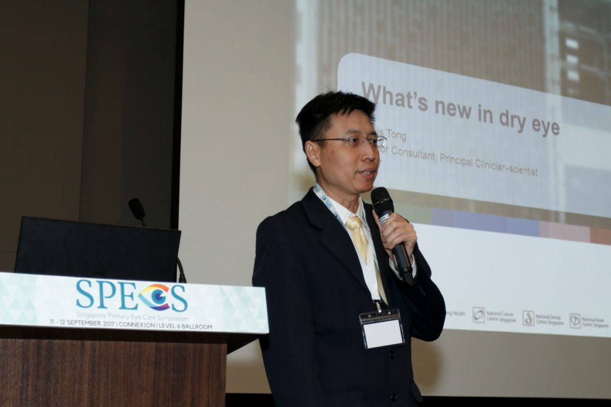 """A/Prof Louis Tong giving an update on """"What's New in Dry Eye"""" at the inaugural Singapore Primary Eye Care Symposium (SPECS) 2017 on 11-12 September 2017 at One Farrer Hotel & Spa."""
