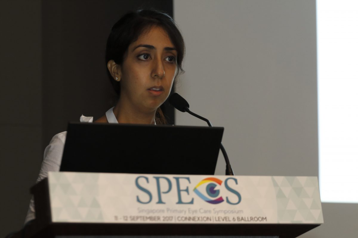 Ms Purrven Bajjaj delivering her lecture at the inaugural Singapore Primary Eye Care Symposium (SPECS) on 11-12 September 2017.