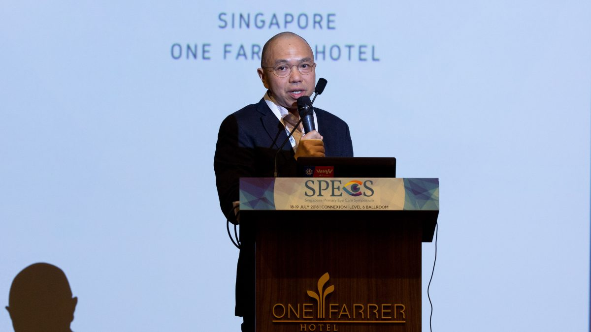 Mr Koh Lian Buck addressing the challenges faced by primary eye care professionals at the Singapore Primary Eye Care Symposium (SPECS) 2018 held at One Farrer Hotel on 18-19 July.