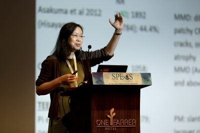 Professor Saw Seang Mei giving her lecture during the Singapore Primary Eye Care Symposium (SPECS) 2018 in One Farrer Hotel on 18-19 July 2018